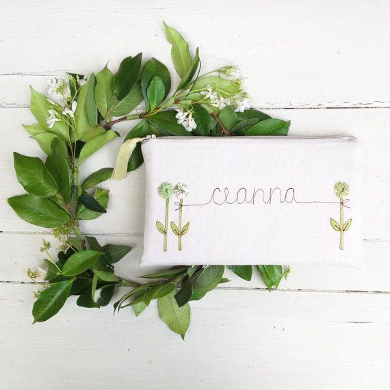 Mariage - Unique Wedding Clutch, Personalized Bridesmaid Gift, Pastel Wedding Purse, Bridesmaid Clutch, Green and Cream MADE TO ORDER MamaBleuDesigns