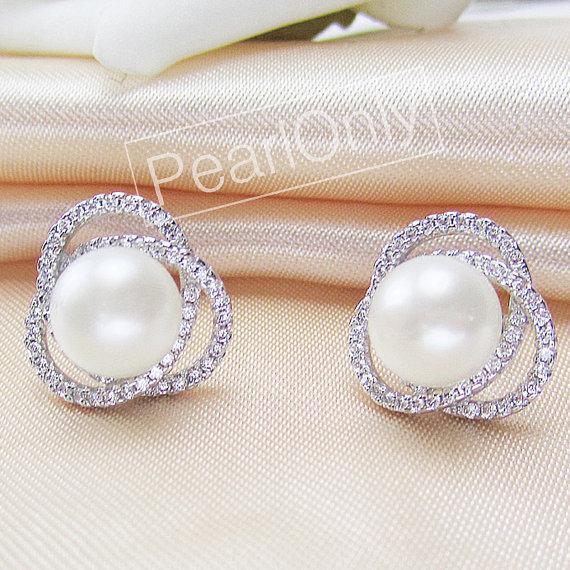 Mariage - flower pearl earrings,9-10mm ivory pearl earings,jewellery pearl earring,pearl crystal earring,pearl bridal earings,wedding pearl earings
