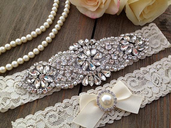 Hochzeit - Wedding Garter SET / Pearl Rhinestone Wedding Garter Set / Ivory Wedding Garter Set / Ivory Lace Wedding Garter