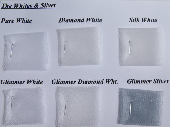 Wedding Veil Color Samples Whites Ivories Diamond White Beige Pink Purple Black Red Burgundy Silver
