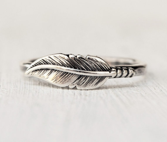 Hochzeit - Sterling Silver Feather Ring - Statement Ring - Bridesmaid Ring - Stacking Ring - Feather Jewelry - Bohemian Jewelry - Mothers Day