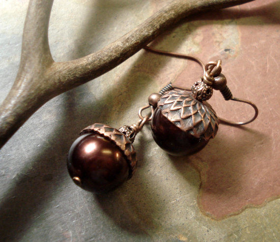Свадьба - Acorn Dark Mocha Brown Antiqued Copper Earrings ONLY - Fall/ Autumn Bridal/Bridesmaid Jewelry, Fall Jewelry
