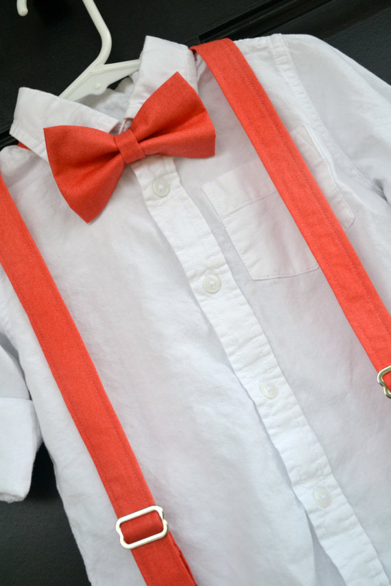 زفاف - boys coral bow tie, child coral suspenders, coral reef bowtie, little boy coral braces, toddler coral bowtie, baby coral bow tie, coral set