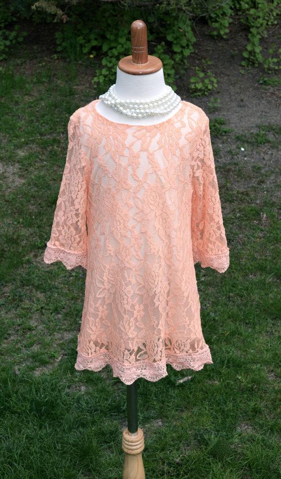 Wedding - Coral Peach Lace Flower Girl Dress, Coral Lace dress, Coral Peach Wedding dress, flower girl junior bridesmaid dress, Vintage Style Dress