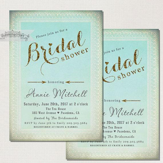 blue bridal shower invitations lace gold glitter turquoise and gold digital invitation printable file vintage rustic elegant no554