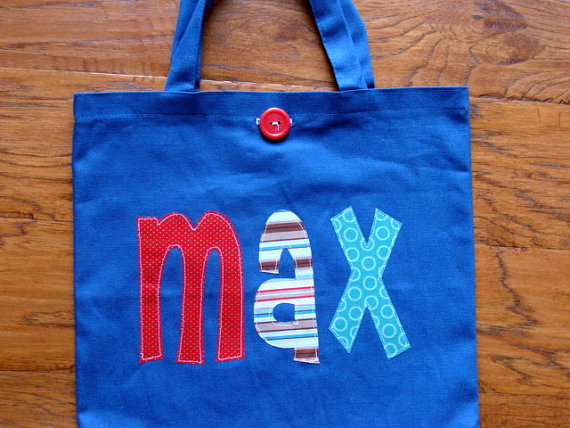 Hochzeit - Boy's Large Personalized Tote (with button closure)