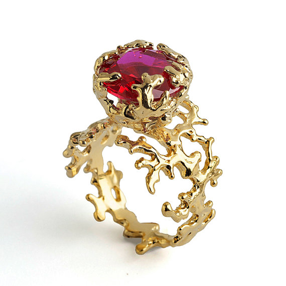Hochzeit - CORAL Ruby Engagement Ring, Statement Ring, Gold Ruby Ring, Gold Engagement Ring, Large Ruby Ring Gold