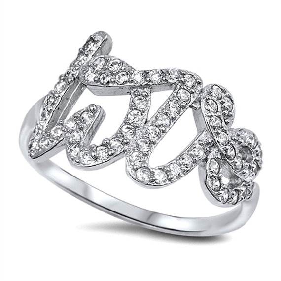 Hochzeit - Script Love Ring Solid 925 Sterling Silver 0.50 Carat Round Diamond Clear Crystal CZ Love Promise Engagement Ring Valentines Gift Love Ring