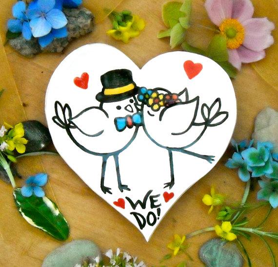 Hochzeit - Bride & Groom Love Birds Wedding Ring Bowl - WE DO - HandMade Painted Kissing LoveBirds, Hearts Jewelry Dish - Wedding Ring Bearer Pillow