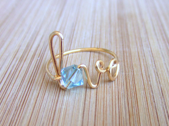 Mariage - Personalized Ring, Birthstone Love Ring, Gold Silver Copper Wire Wrapped Bride Bridesmaid Gift Wedding Friendship Jewelry Gifts Under 15