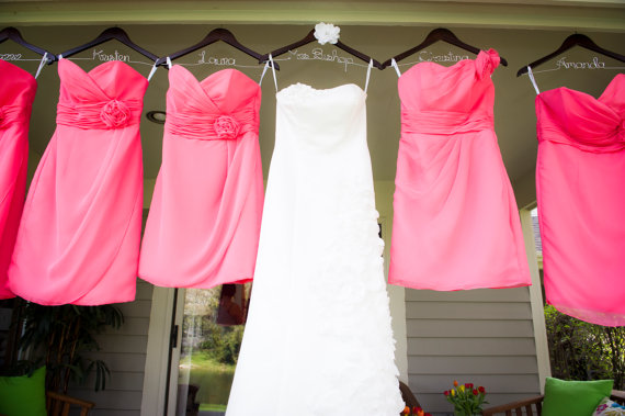 Set of 6 wedding dress hangers bridesmaid hangers bride for Wedding dress hanger amazon