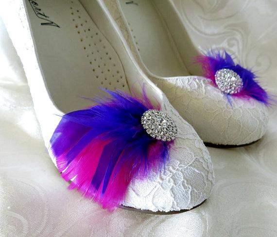 Свадьба - Bridal Bridesmaid Feathered Feather Shoe Clips Rhinestone Accents Purple Magenta Fuschia  Set of 2