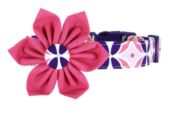 زفاف - Pink and Navy Dog Collar Flower Set/ Girl Dog Collar: Rose's Token