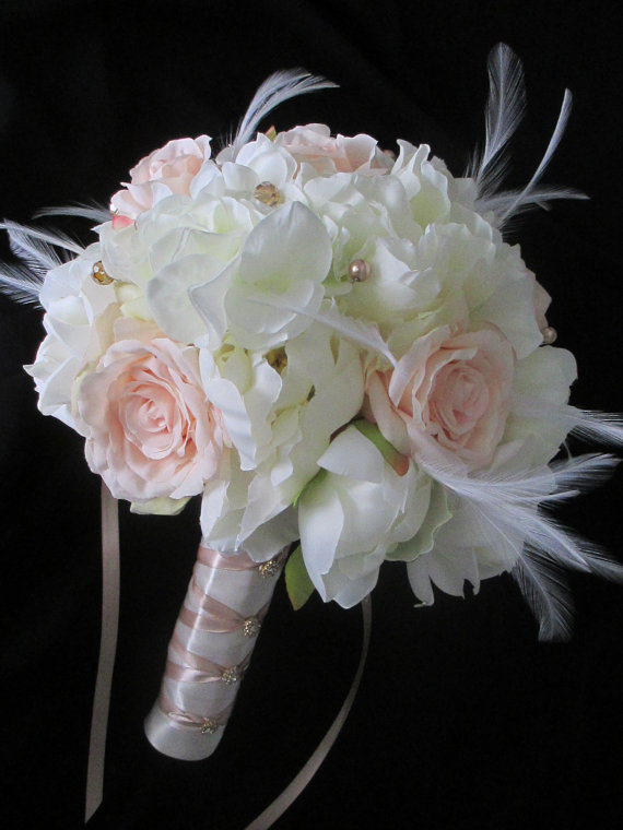 Mariage - Custom order  for....Heather Porter.......Renaissance Ivory  Champagne Bridal Bouquet Wedding Flower Package  Boutonnieres.