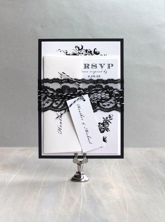 "Mariage - Modern Floral Wedding Invitations, Modern Wedding, Elegant Wedding Invitations - ""All Black"" - Deposit"