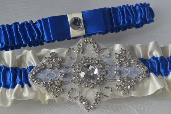 زفاف - Wedding Garter Set, Royal Blue Garters With Ivory And Rhinestone Applique, Garter Belts, Bridal Garter Set