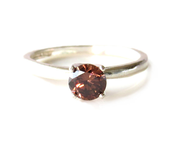 Mariage - 1/2 carat Engagement Ring, Round Cut, Man Made Chocolate Diamond Simulant, Wedding, Birthstone, Promise Ring, Sterling Silver or 14k Gold