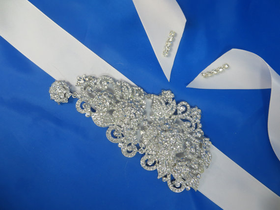 Wedding - Rhinestone Bridal Sash, Wedding Gown Accessory, Crystal Brides Sash, Bridal Rhinestone Belt, White Bridal Belt, White  Bridal Sash