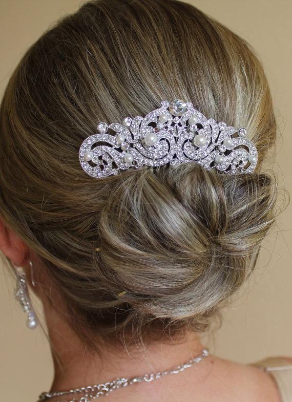 Wedding - Vintage Bridal Hair comb, Deco Bridal Hair piece, Bridal Hair Clip Gatsby Hair Comb, Wedding Accessories,  ANNA
