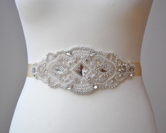 Wedding - Stunning Pearls Crystal Bridal Sash,Wedding Dress Sash Belt,  Rhinestone Sash,  Rhinestone Bridal Bridesmaid Sash Belt, Wedding dress sash