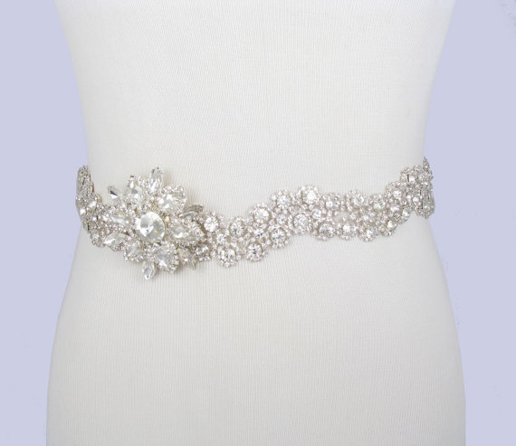 Wedding - Wedding Dress Sash, Crystal Rhinestone Flower Bridal Belt, Silver with Clear Rhinestones, Jeweled Beaded Sash, 35 Satin Ribbon Color Choices