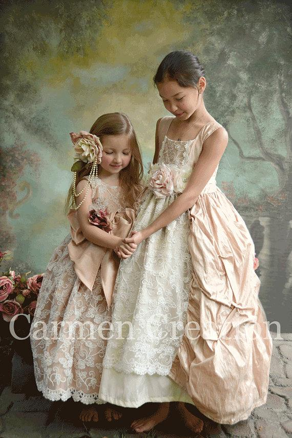Mariage - Victorian Flower Girl Dress - Flower Girl Dress - (Couture Flower Girl Dress)