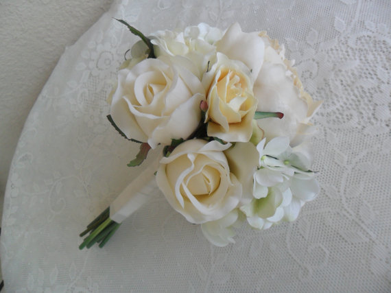 Wedding - Bridal Bouquet, Wedding Flowers, Rose Bouquet, Hydrangea Bouquet, Bridal/Bridesmaid Flowers, Wedding Bouquet, YOUR CHOICE COLOR, Bouquet