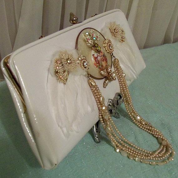 Wedding - White Wedding Clutch, Victorian Angel Wing Bridal Purse, Vintage Bejeweled Formal Woman's Clutch,