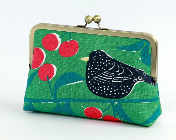 زفاف - Bird on green floral clutch, BagNoir, Wedding clutch, Bridesmaid gift idea, Evening purse, Bridesmaid clutch