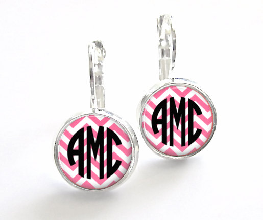 Hochzeit - Pink Chevron Monogram Earrings, Bridesmaid Gift, Monogram Jewelry Personalized Earrings (385)