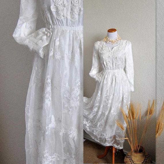 Свадьба - Rustic Chic Wedding Dress Peasant Long Sleeve Gown Coachella Inspired Seventies Ethnic Hippie Unique dress Made to order