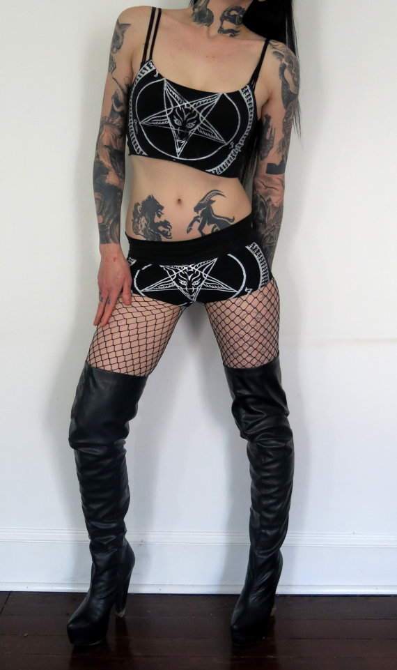Свадьба - Hell Couture White Pentagram Cami Top & Shorts Set