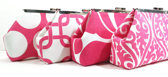 Mariage - Bridesmaid Clutches Bridal Party Purses Wedding Clutch Choose Your Fabric Pink Set of 6