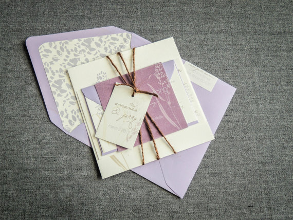 Mariage - Spring Wedding Invitations, Rustic Wedding Invitation, Purple Wedding Invitations, Graceful Botanic - Flat Panel, No Layers, v2-SAMPLE