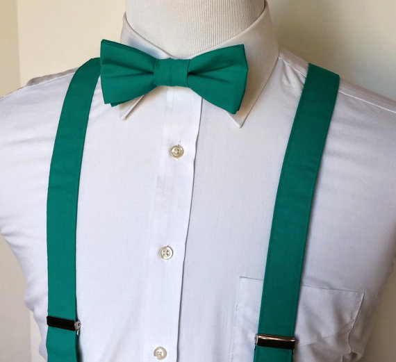 زفاف - Men's Bowtie and Suspenders - Teal - MANY COLORS AVAILABLE