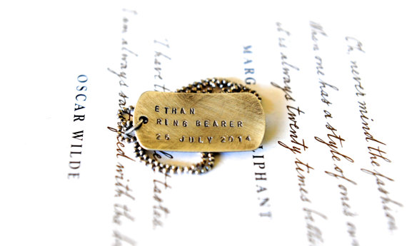Mariage - Ring Bearer - Wedding Party Ideas - Rustic Wedding - Hand Stamped Dog Tag - Weddings - Rustic Boy Gift - Rustic Dog Tag - Wedding Ideas