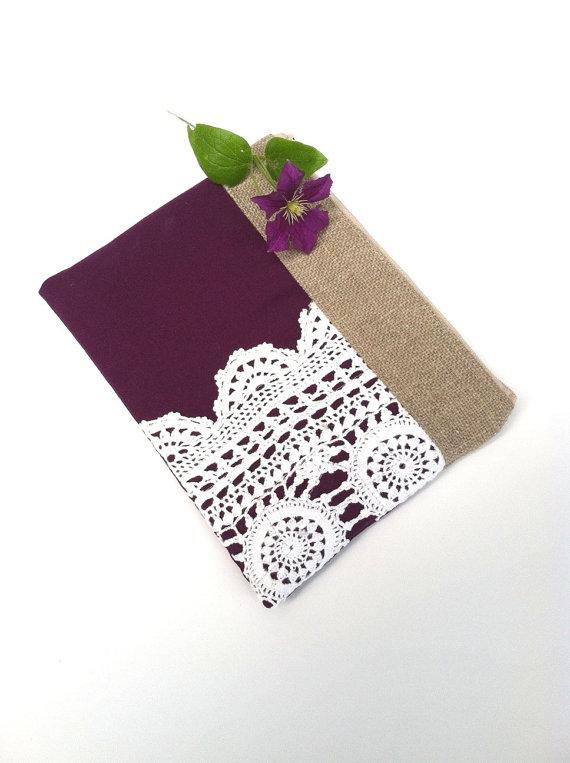 Mariage - Eggplant Purple Linen Burlap Vintage Doily Zipper Clutch - Purple Wedding Gift - Bridesmaids Clutch