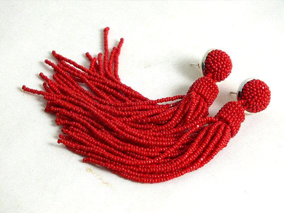 Long Beaded Tel Earrings Clip On In Red Statement Beadwork Dangle Fringe Bridesmaid