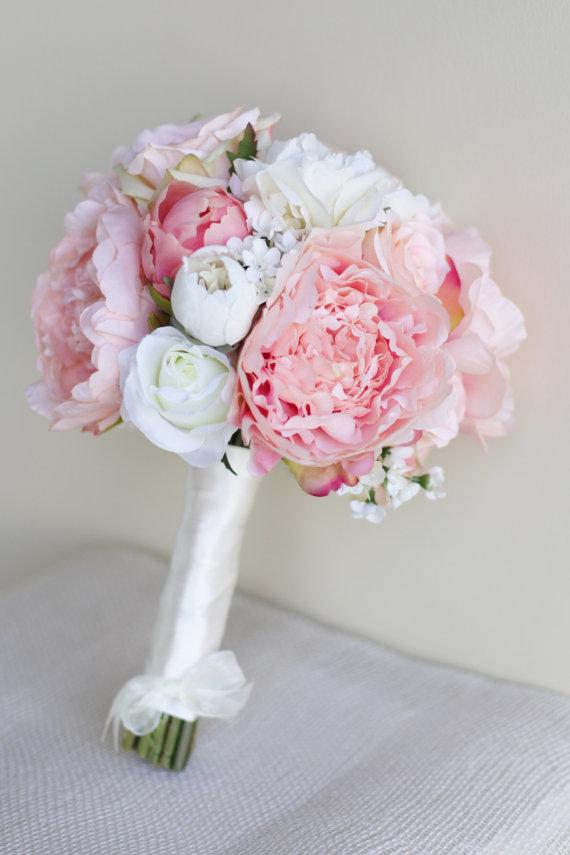 Mariage - Silk Bride Bouquet Peony Flowers Pink Peach Spring Mix Shabby Chic Wedding Decor