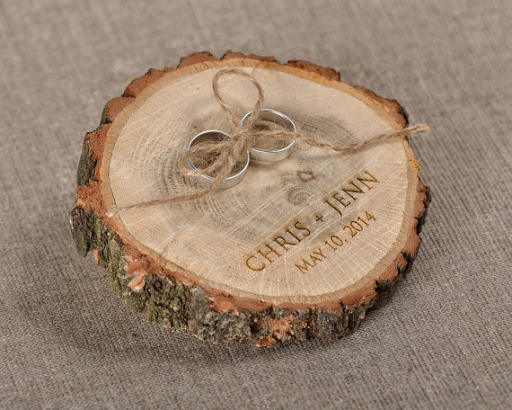 Engraved Wood Wedding Ring Bearer Slice Rustic Wooden Ring Holder