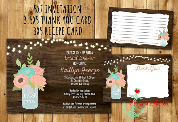 Hochzeit - Rustic Mason Jar Bridal Shower Invitation + Recipe Card + Thank You Card