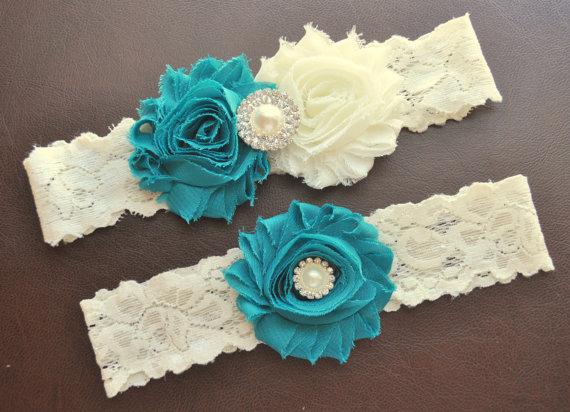 Hochzeit - Wedding Garter Set, Bridal Garter Set, Jade Wedding Garter, Jade Bridal Garter, Ivory Lace Garter, Ivory Wedding Garter Belt, Jade Garter