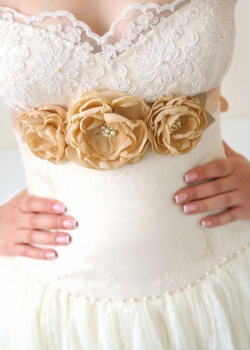 Rustic Flower Bridal Sash Tan Champagne Mocca Chiffon Burlap Wedding Dress Three