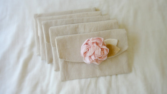 Mariage - 4 Wedding Clutches Pink Bridesmaid Purses Bridesmaid Gift Wedding Purse Shabby Chic Burlap Wedding Rustic Blush Peony Flower