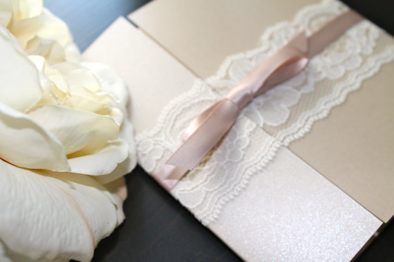 Mariage - Gated Collection Lace wedding Invitation Suite on Sand / Blush