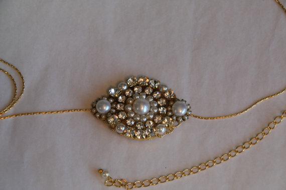Свадьба - Gold Bridal Belt Sash Rhinestone Crystal,Pearls,Victorian Vintage Style Jewelry Wedding Dress Belt Accessory,Unique Bridal Sash Chain,Sash