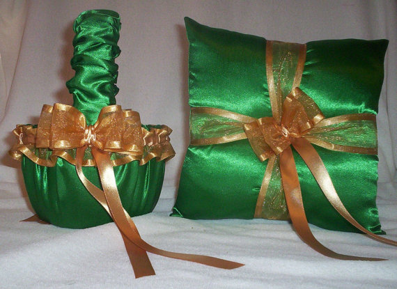 Wedding - Kelly Green Satin With Gold Ribbon Trim And Ribbons  Flower Girl Basket And Ring Bearer