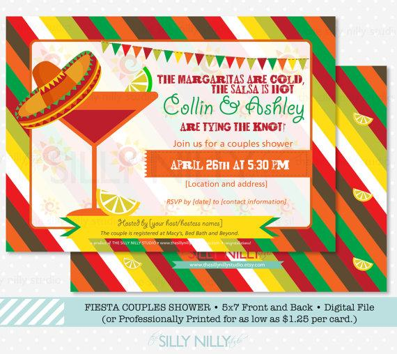 Wedding - Mexican Fiesta Couples Shower Invitation, Front and Back design, 5x7 Printable Engagement Party by The Silly Nilly Studio