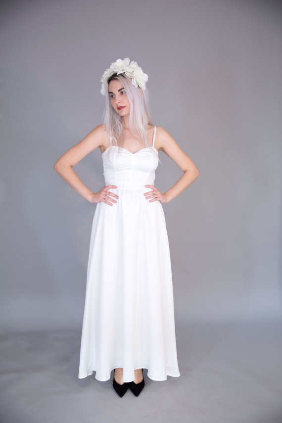 Свадьба - White satin wedding gown / floor length simple bridal gown / spaghetti strap wedding dress