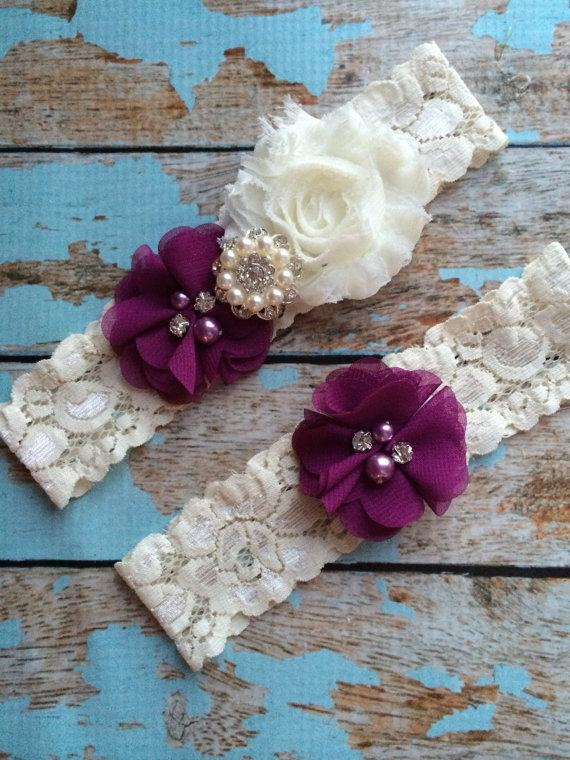 Mariage - PLUM flower  / IVORY  chiffon / wedding garter set / bridal  garter/  lace garter / toss garter included /  wedding garter